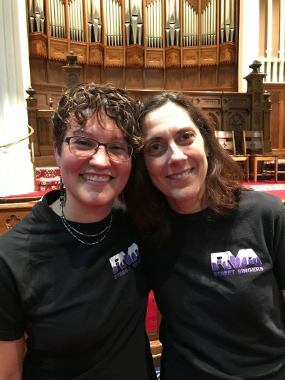 With Robin Rio (right), music therapist and co-leader for the RVA Street Singers.
