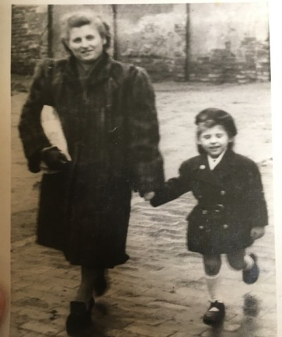 Oma (right) and my mother in America.