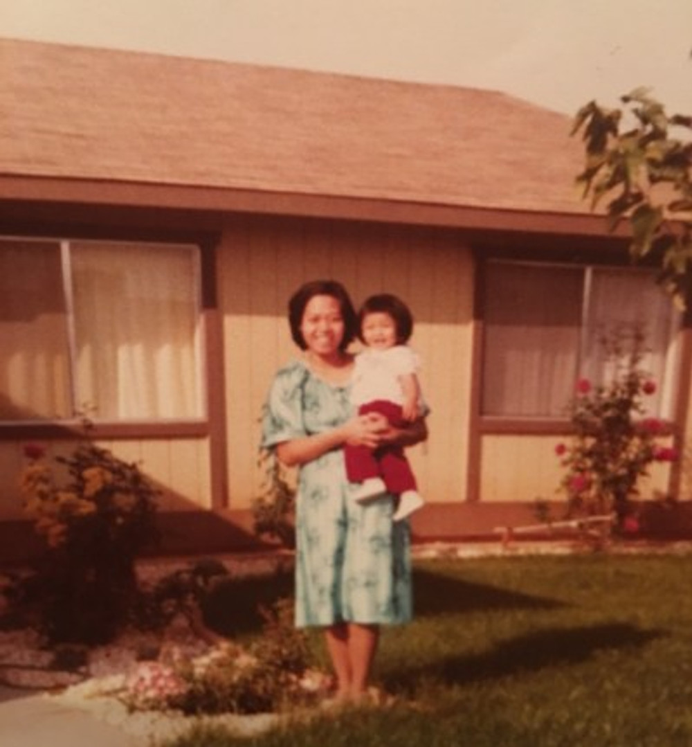 With my mother in 1980.