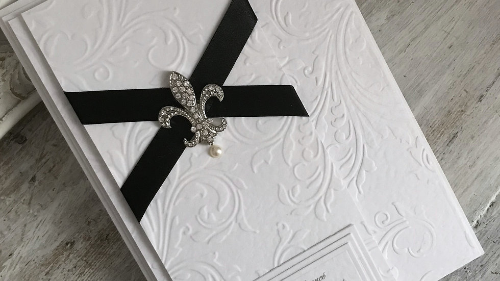 Luxury birthday card for husband/ gothic style/ diamante fleur de lys/ black satin ribbon/ The Lavender Blue Paperie