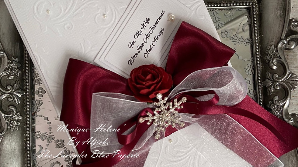 beautiful christmas card for wife/ with gift box/ diamante snowflake/ pearls/ red roses/ satin bow/ custom text