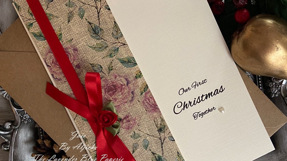 Luxury Christmas card for wife/ our first Christmas/ custom text/ with red ribbon and rose/ Xmas anniversary/ with envelope/