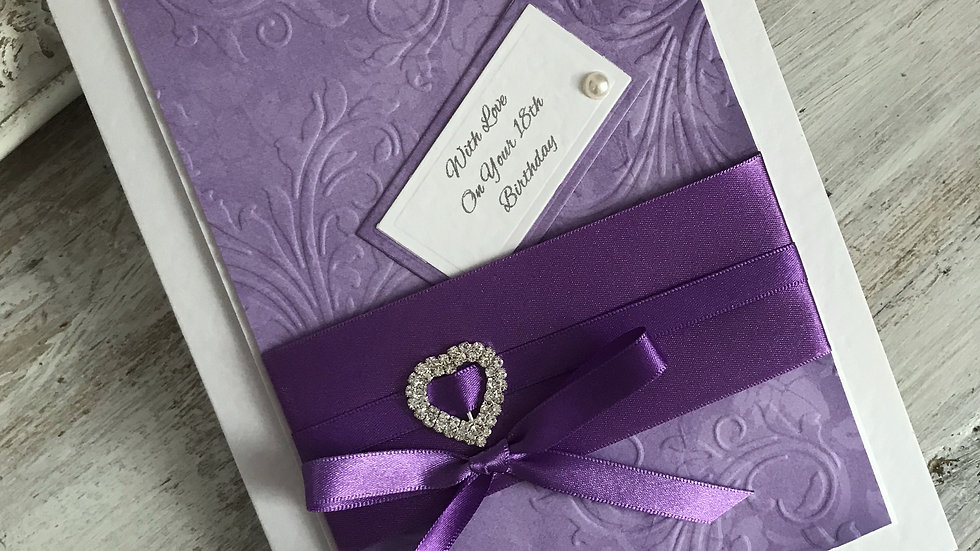 18th birthday card/ lavender and white/ lavender ribbon/ diamante heart/ The Lavender Blue Paperie