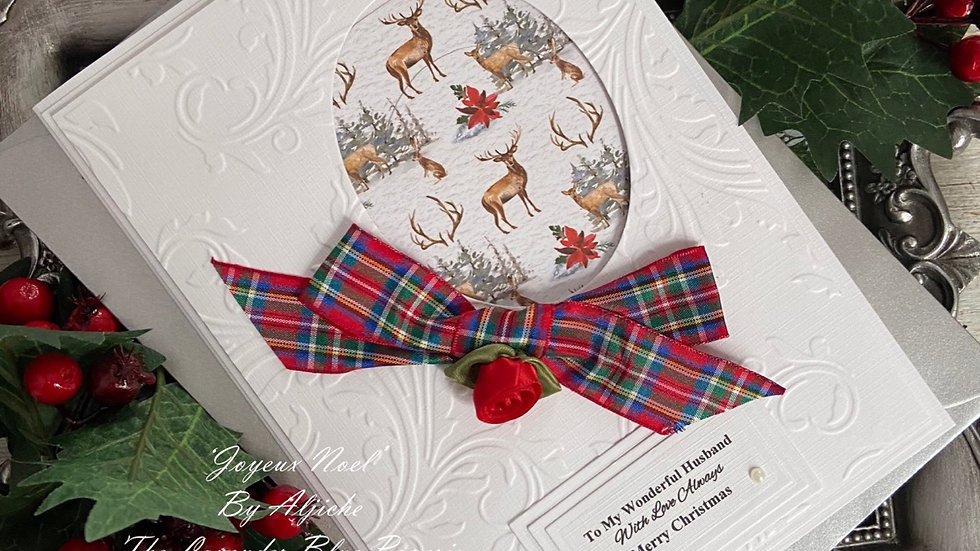 Merry Christmas Card Husband/ Royal Stewart Tartin Bow/ Custom Text/ Designer Stag Print/ Silver Envelope/ For The One I Love