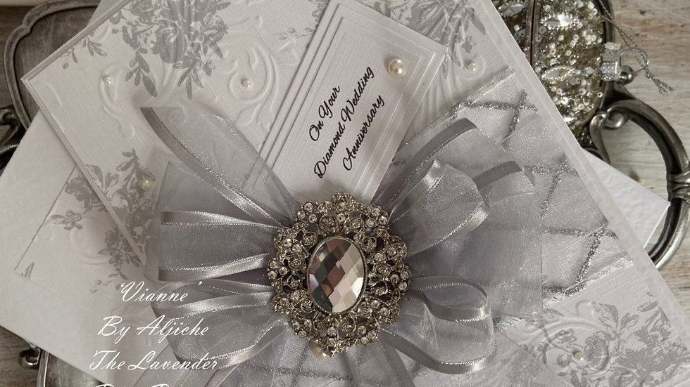 Luxury Handmade 60th Anniversary Card/ With Gift Box/ Custom Text/ Silver Ribbon/ Large Diamante Brooch/ Elegant Panels