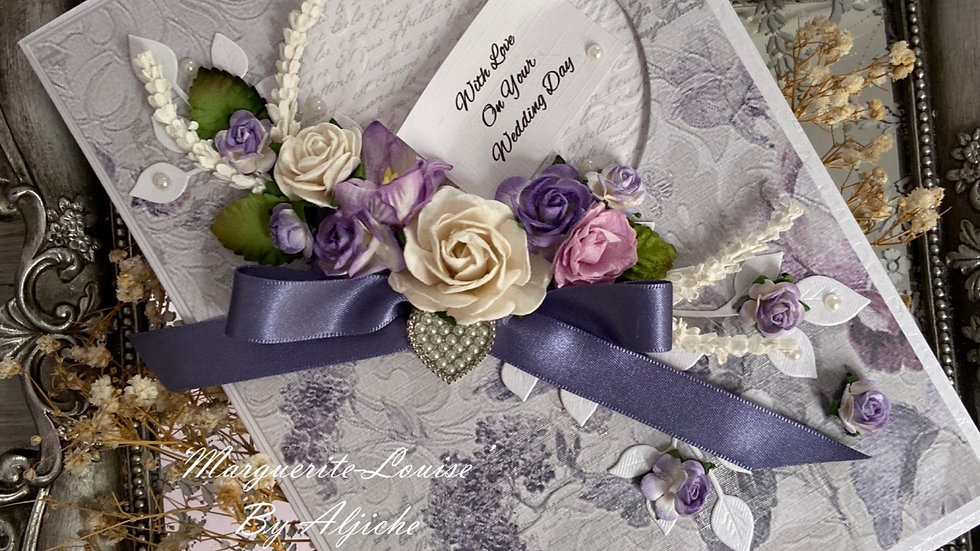 Luxury Handmade Wedding Card/ with box/ custom text/ moonlight blue accents/ floral bouquet/ pearl heart brooch