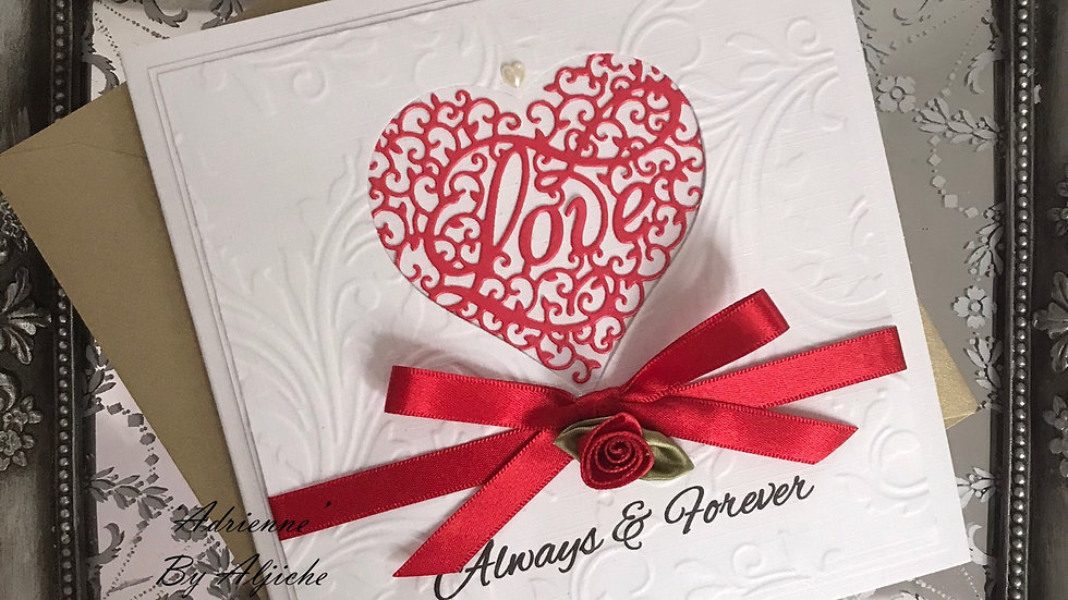Luxury 40th anniversary card with red satin bow and rose/ https://www.thelavenderblue.com/