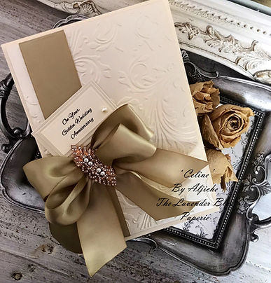 Luxury Boxed Handmade Golden Wedding Card, https://www.thelavenderblue.com/