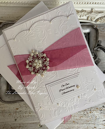 Luxury Handmade Pearl Wedding Anniversary Card/ The Lavender Blue Paperie