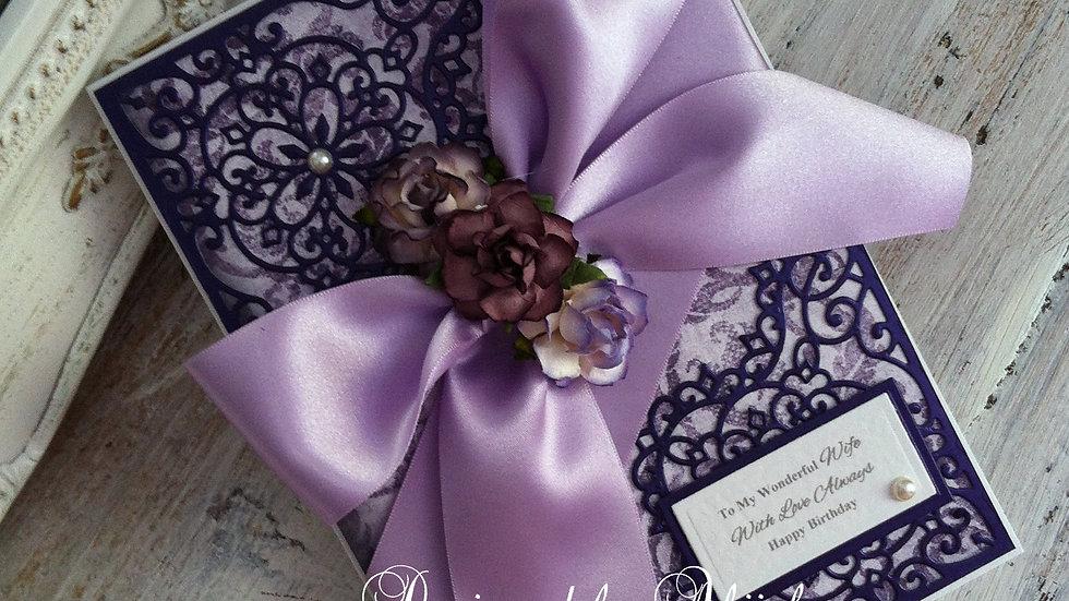 #birthday, #greetingscard, #handmade, #beautiful, #lavender, #pearl, #roses, #wife, #fiancee, #cards, #birthdaycards, #60