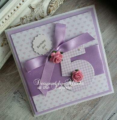 Adella/ Girls Birthday Card/ With Roses/ Age 5/ The lavender Blue Paperie