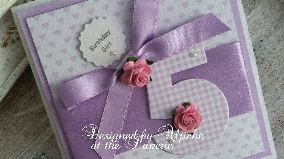 personalized girl's birthday card, luxury cards, handmade cards, 5th birthday, #thelavenderblue.com, #thepaperie.boutique