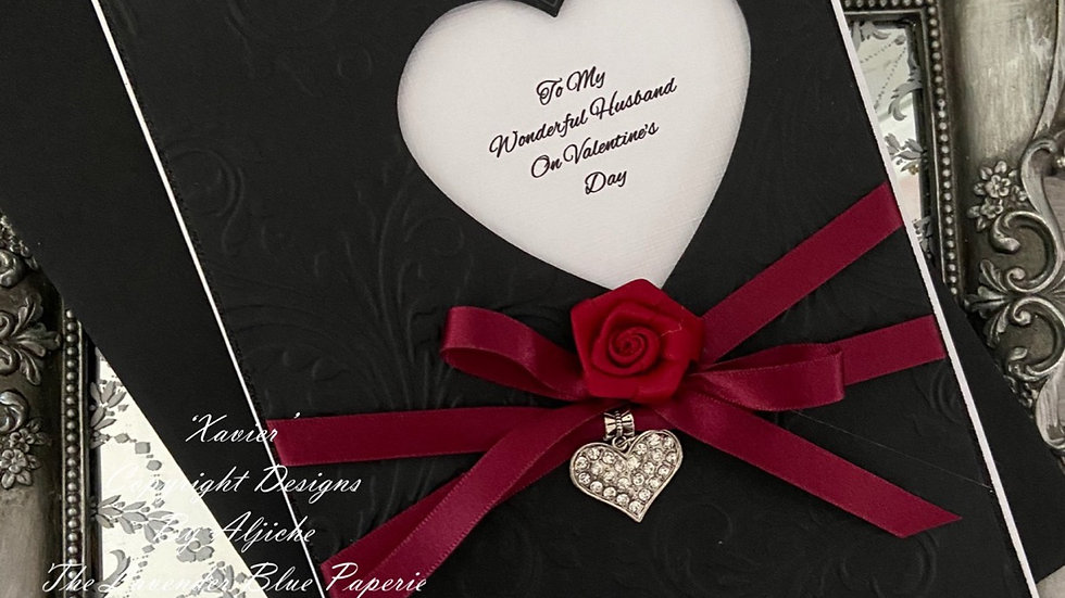 Beautiful handmade love card/Valentine/ custom text/ claret ribbon, diamante heart, black and red/ romantic/ with envelope