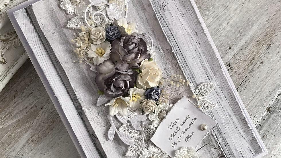 #birthday, #cards, #mum, #wonderfulmum, #daughter, #handmade, #greetingcards, #pearl, #bouquet, #60, #80, #unique, #handcraft