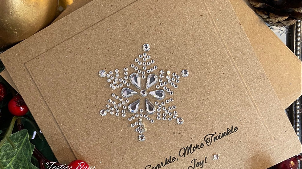 Luxury Handmade Christmas cards/ Pack of 4/ Custom Text/ Merry Christmas/ Diamante Snowflake/ Crystlas/ Handmade Xmas cards