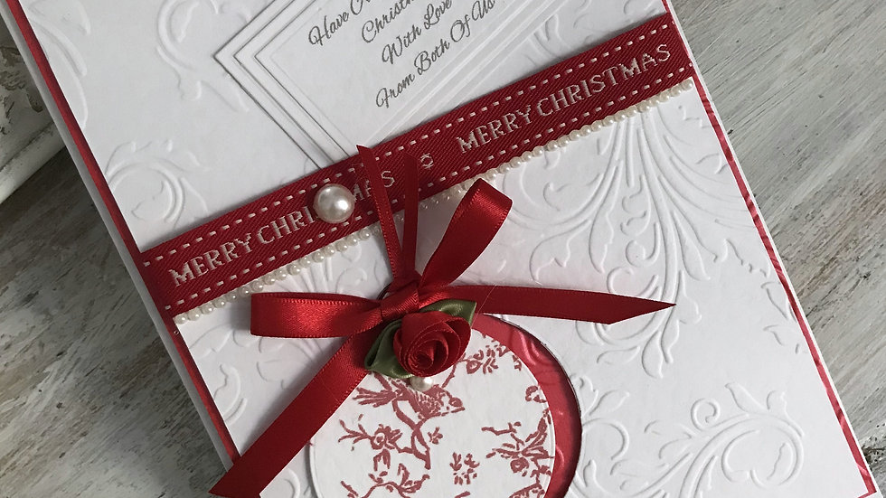 Luxury handmade christmas card/ red ribbon/ pearl/ red rose/ custom text/ with envelope