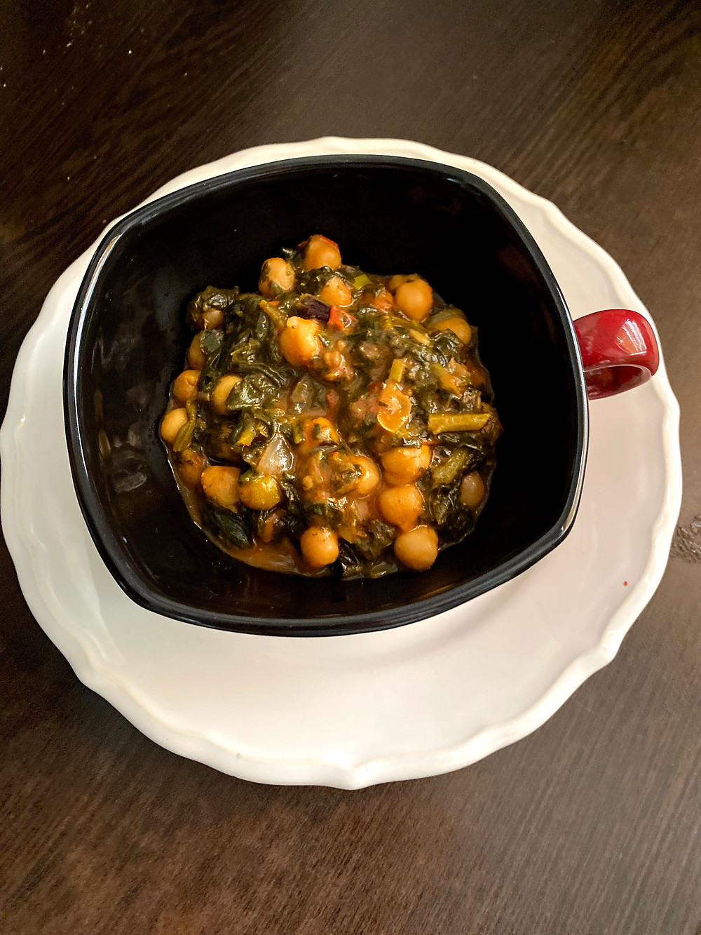 Chickpeak spinach with indian spices
