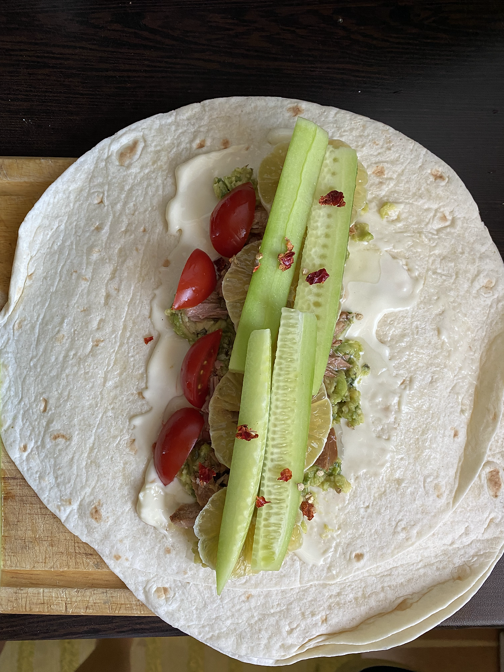 tortilla wrap with tuna and veggies