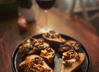 Печени круши с горгонзола и орехи