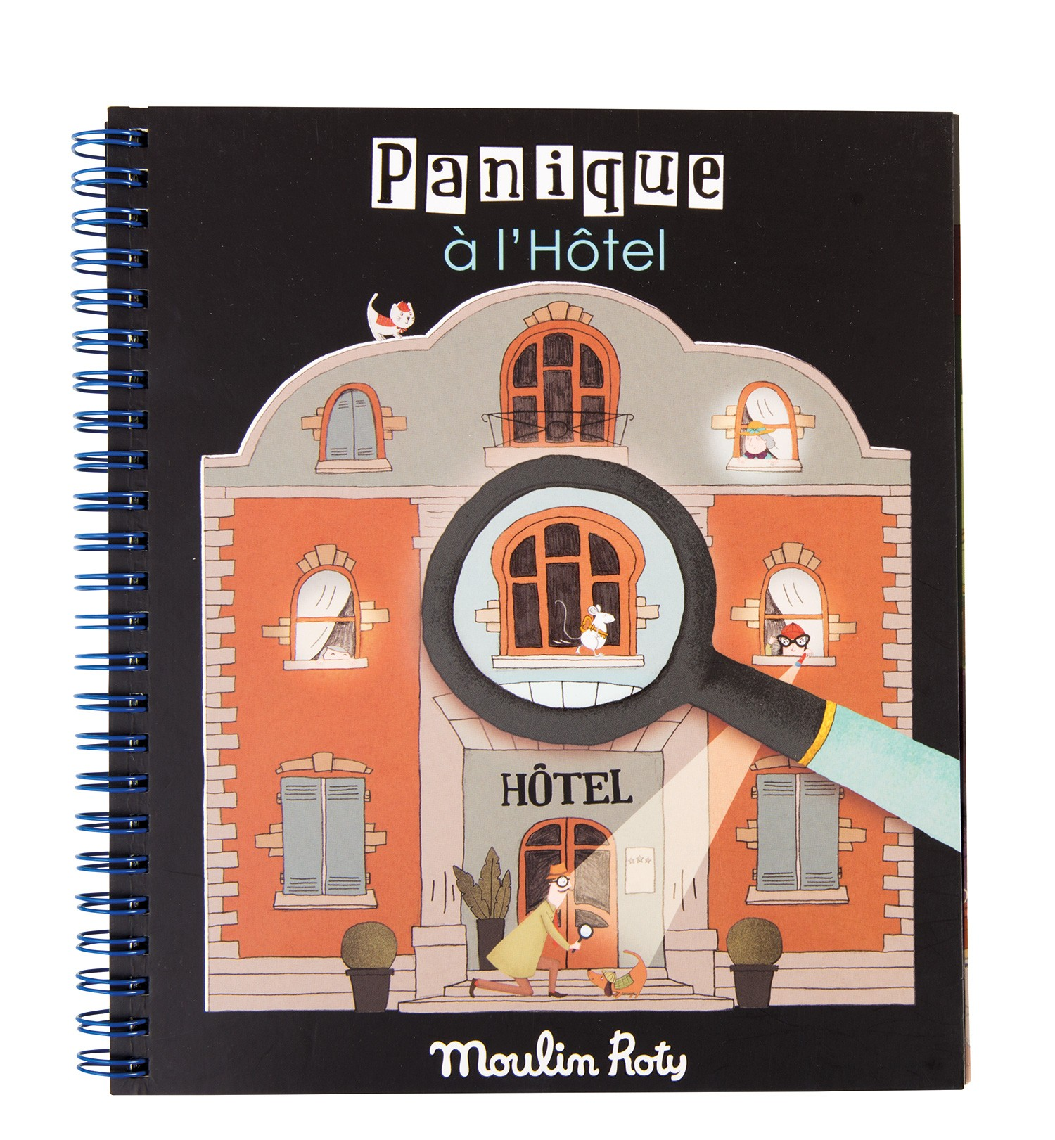 Livre loupe magique Panique à l'hôtel 4 ans+ Moulin Roty