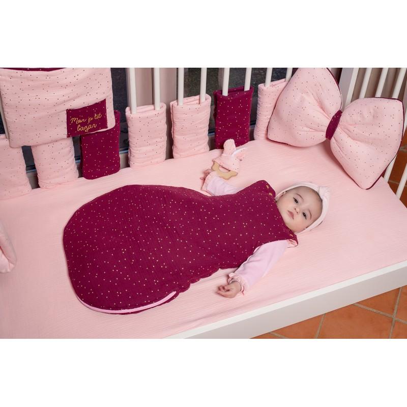 Tour de lit modulable prune pois rose BB