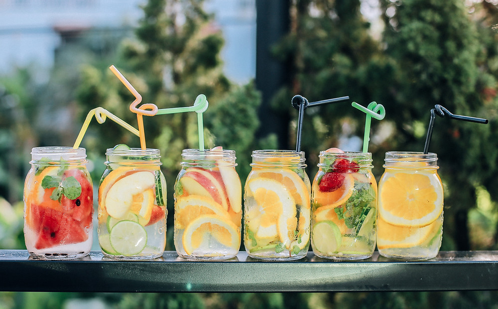 Fruit cocktails in the sunshine