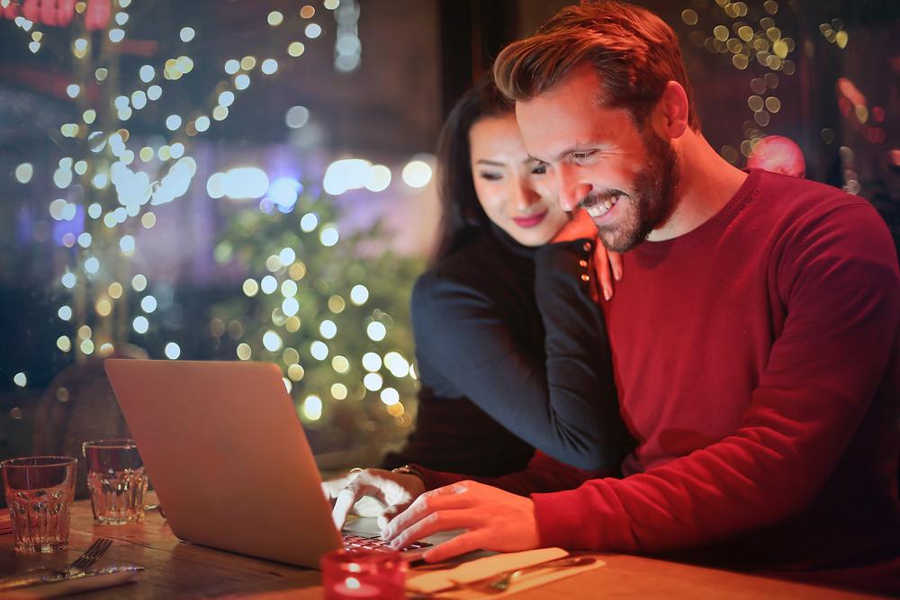 Virtual Christmas Parties - Man and woman