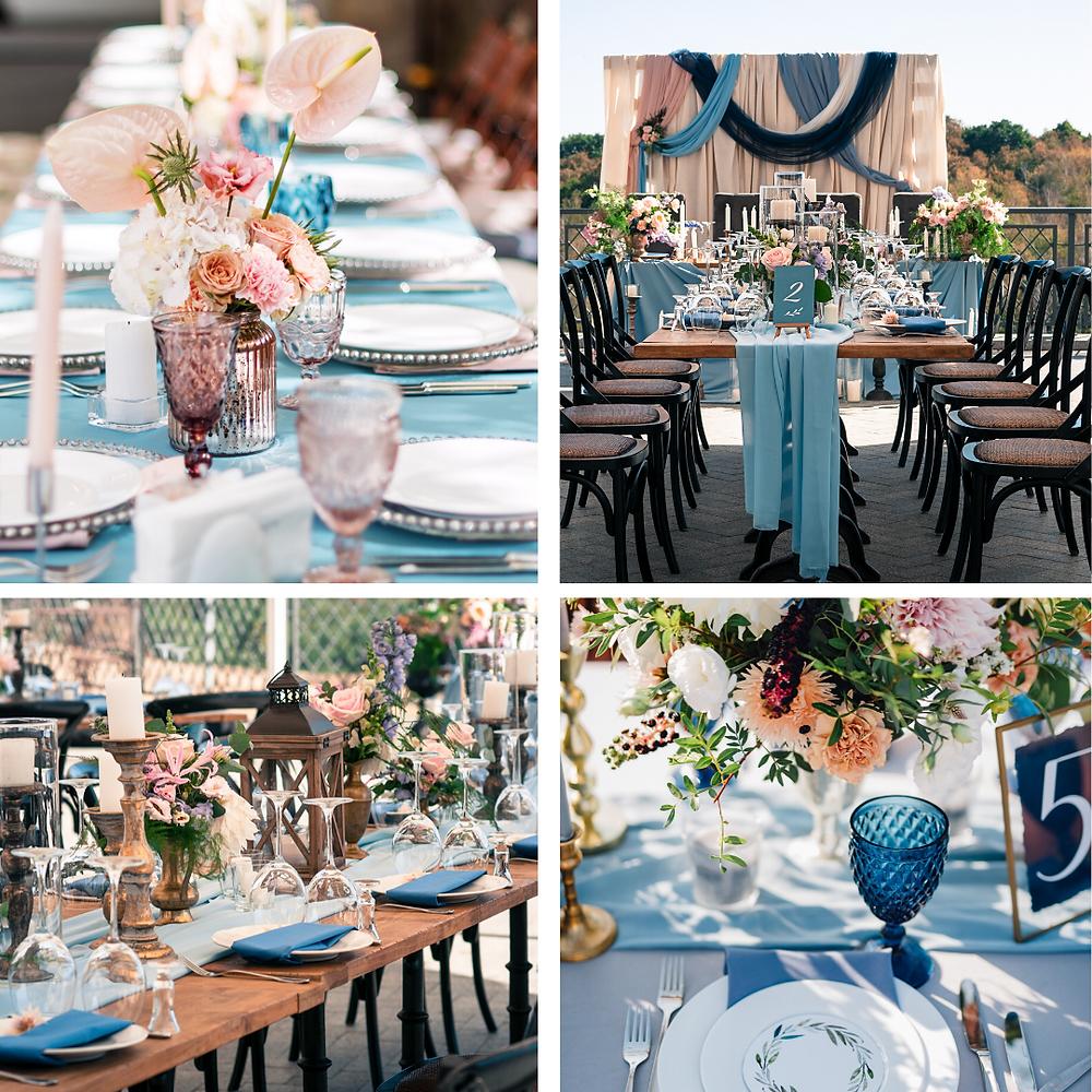 Light Blue and Blush Pink Wedding Colour Scheme 2021