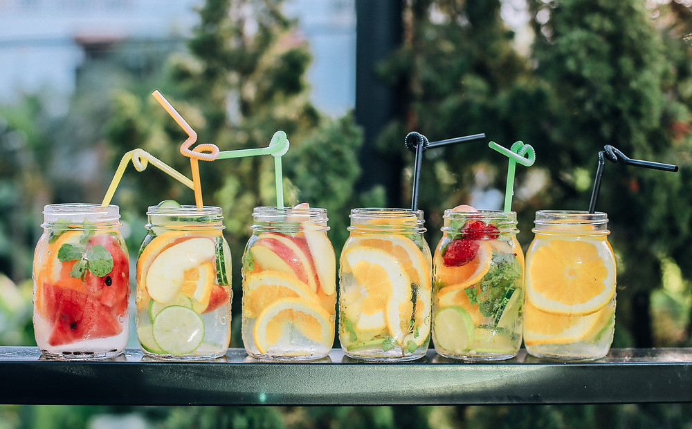 Fruit water for summer garden party