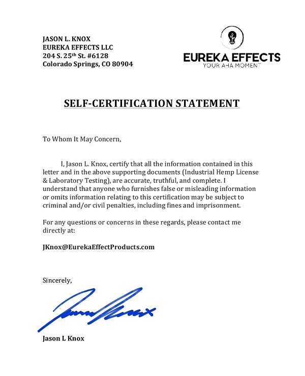 Self-Certification Statement (Eureka Eff