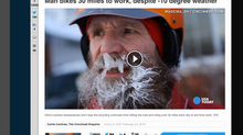 Subzero temps don't stop bicycling commuter