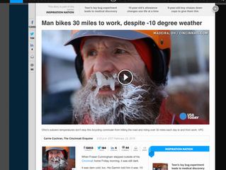 Subzero temps don't stop bicycling commuter