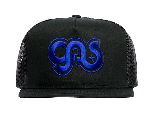 GAS Trucker Hat Black Blue Logo