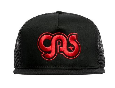 GAS Trucker Hat Black Red  Logo