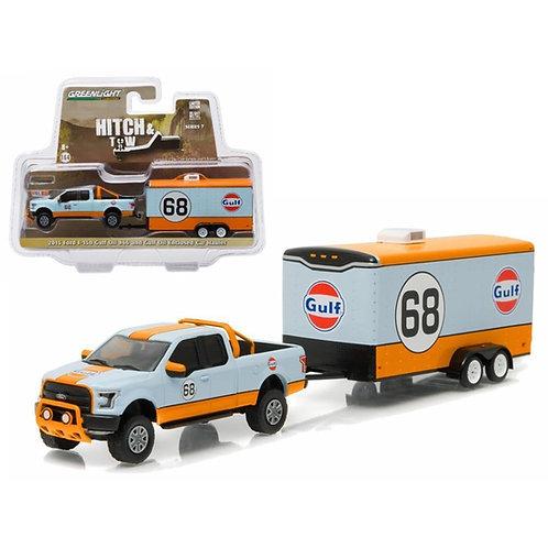 Gulf F150 Toy Truck w/ Trailer 1/64 Diecast Car Model by Greenlight