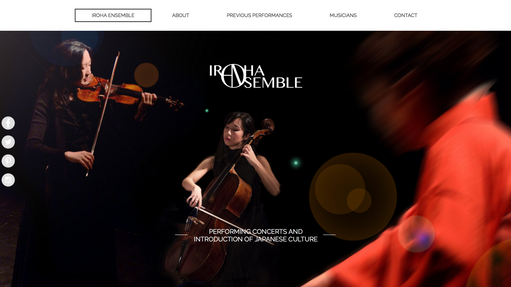 Websider og logo for IROHA Ensemble