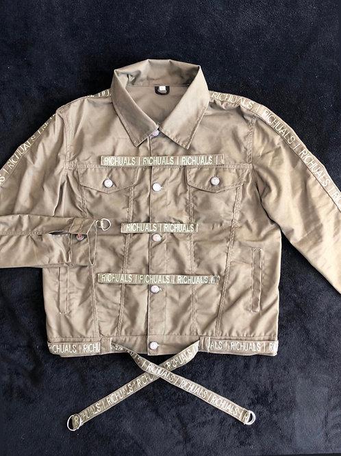 """""""Strapped Up"""" Light denim Jacket (Hunter Green)"""