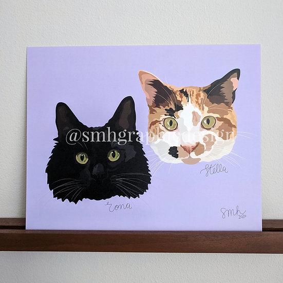Large Double Pet Portrait (8x10)