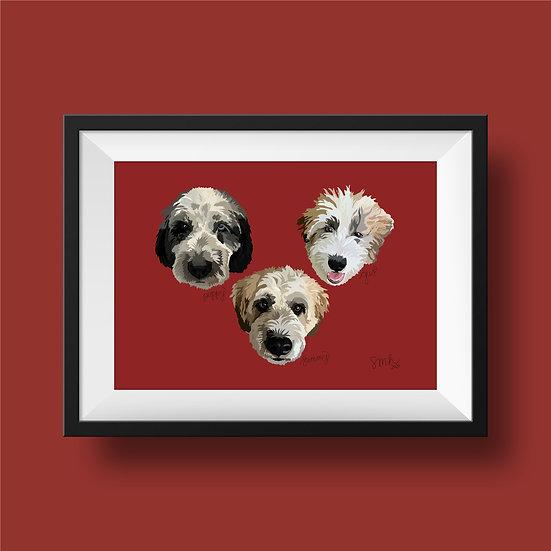 Triple Pet Portrait (11x14)