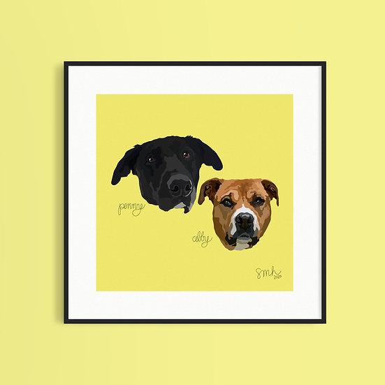 Double Pet Portrait (8x8)