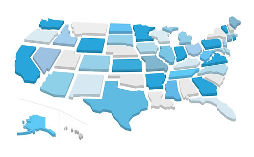 US Map Fragmented 3D