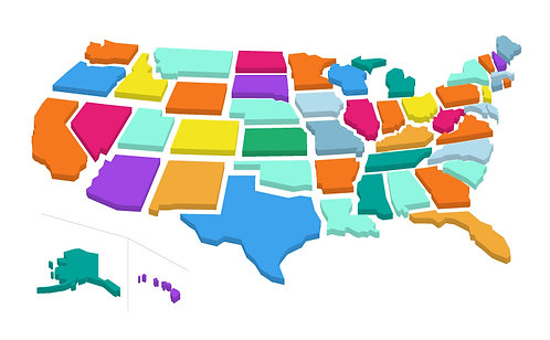 US Map Fragmented 3D 2