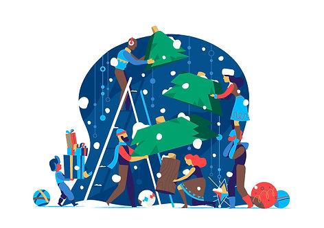 Christmas Construction Team Snowy
