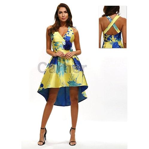 Vestido asimétrico con flor azul