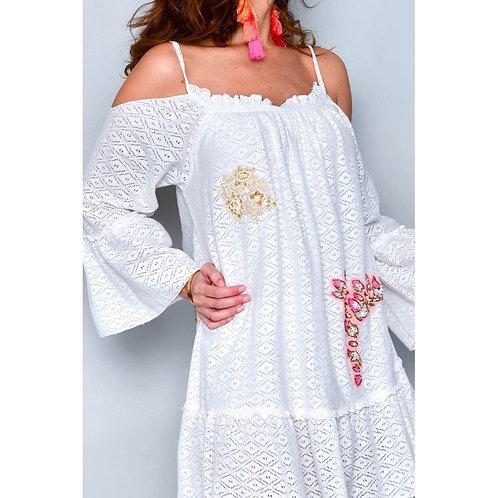 Vestido silueta amplia blanco roto