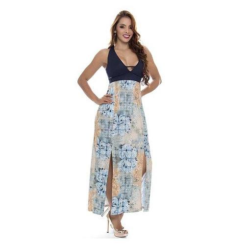 Vestido largo bicolor con aberturas