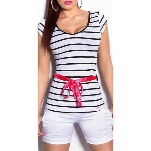 Blusa marinera manga corta con lazo