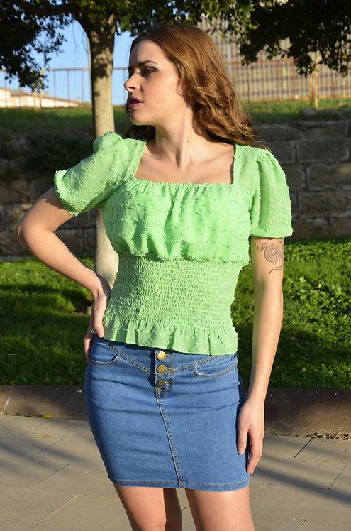 Blusa manga corta con cintura resortada