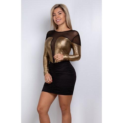VESTIDO GOLD CON MANGA Y DRAPEADO