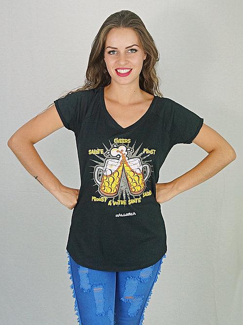 Camiseta manga corta estampada con brindis